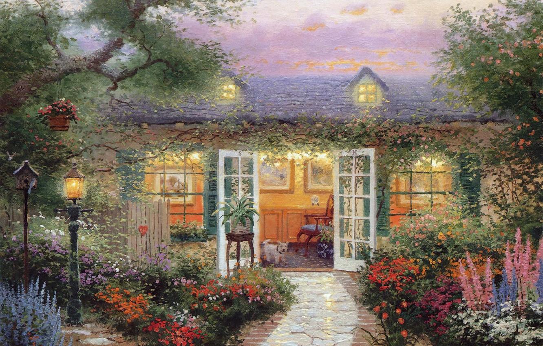 Photo wallpaper summer, light, sunset, flowers, birds, comfort, heat, calm, silence, Windows, dog, picture, the evening, the …