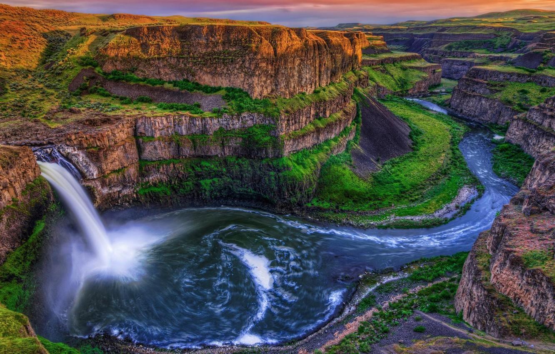Photo wallpaper the sky, landscape, rocks, view, waterfall, top