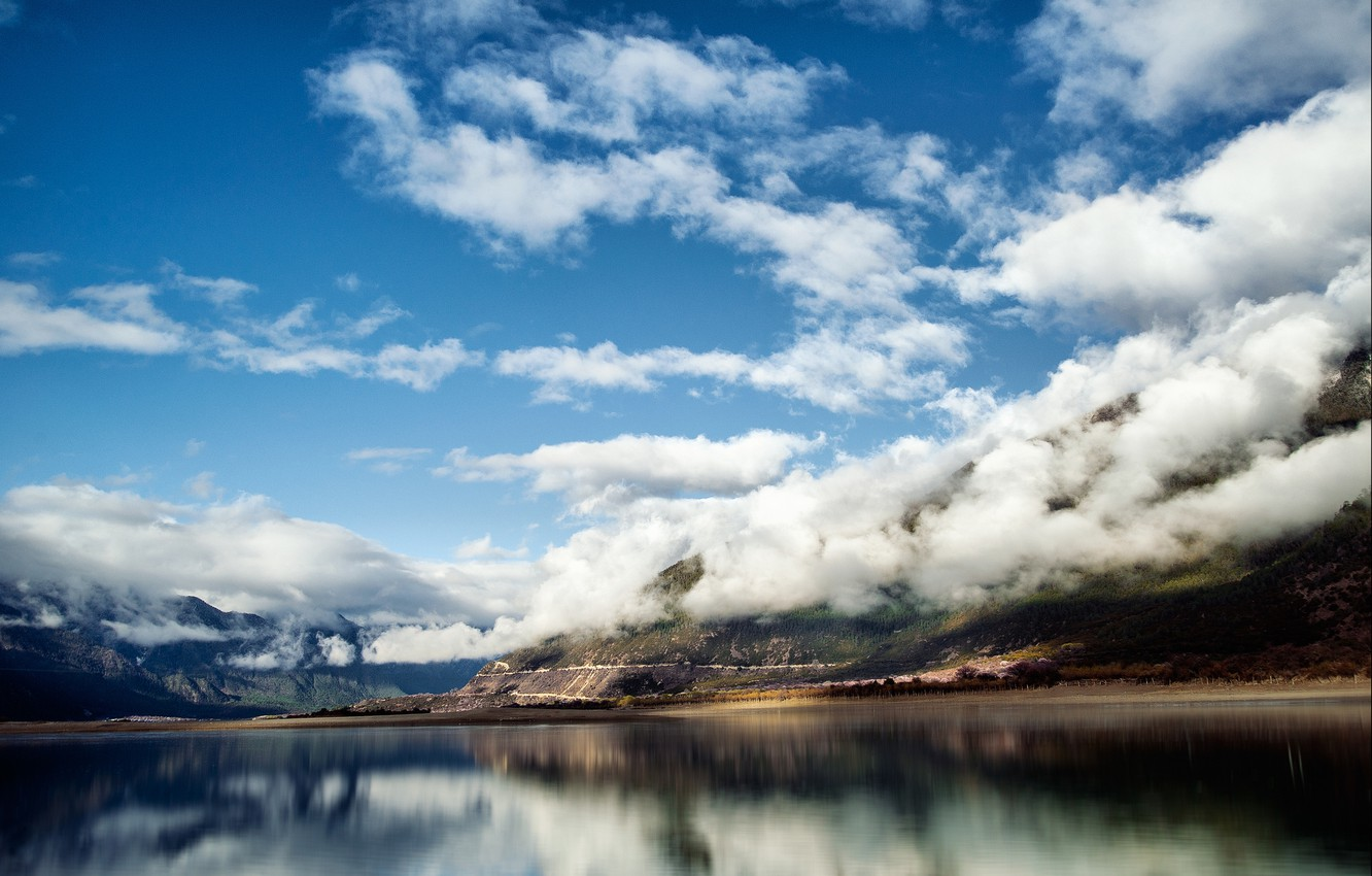 Photo wallpaper clouds, mountains, nature, lake, China, Tibet
