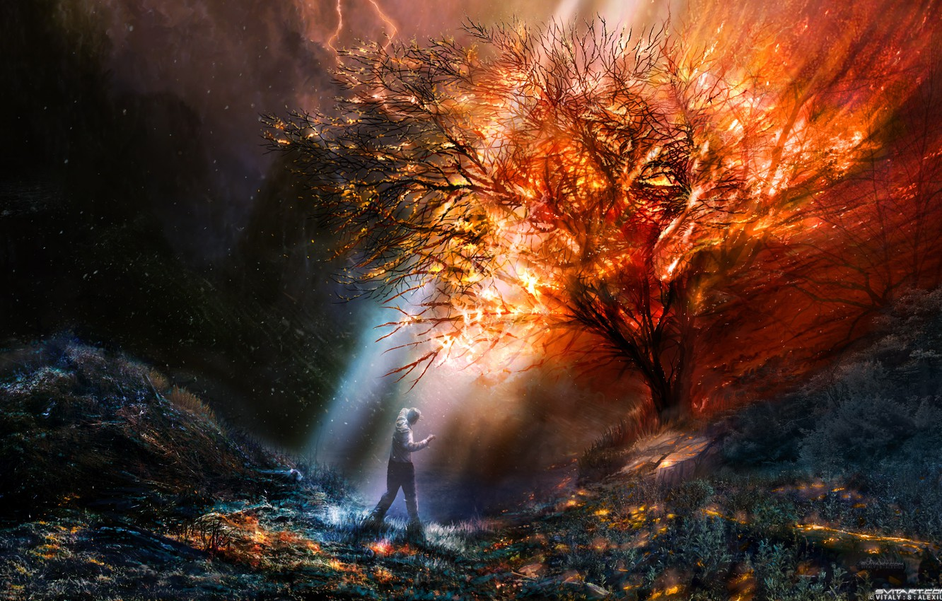 Photo wallpaper color, fiction, fire