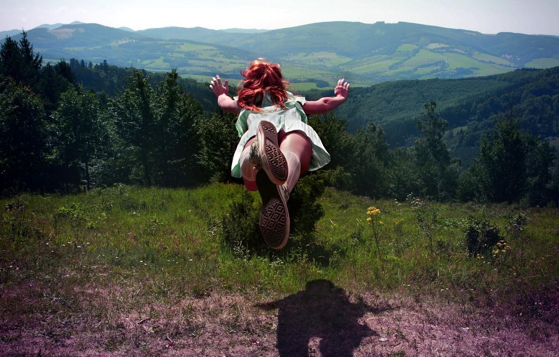 Photo wallpaper GIRL, FOREST, NATURE, HILLS, GRASS, MOUNTAINS, FLIGHT, GREENS, JUMP, TREES, POSITIVE
