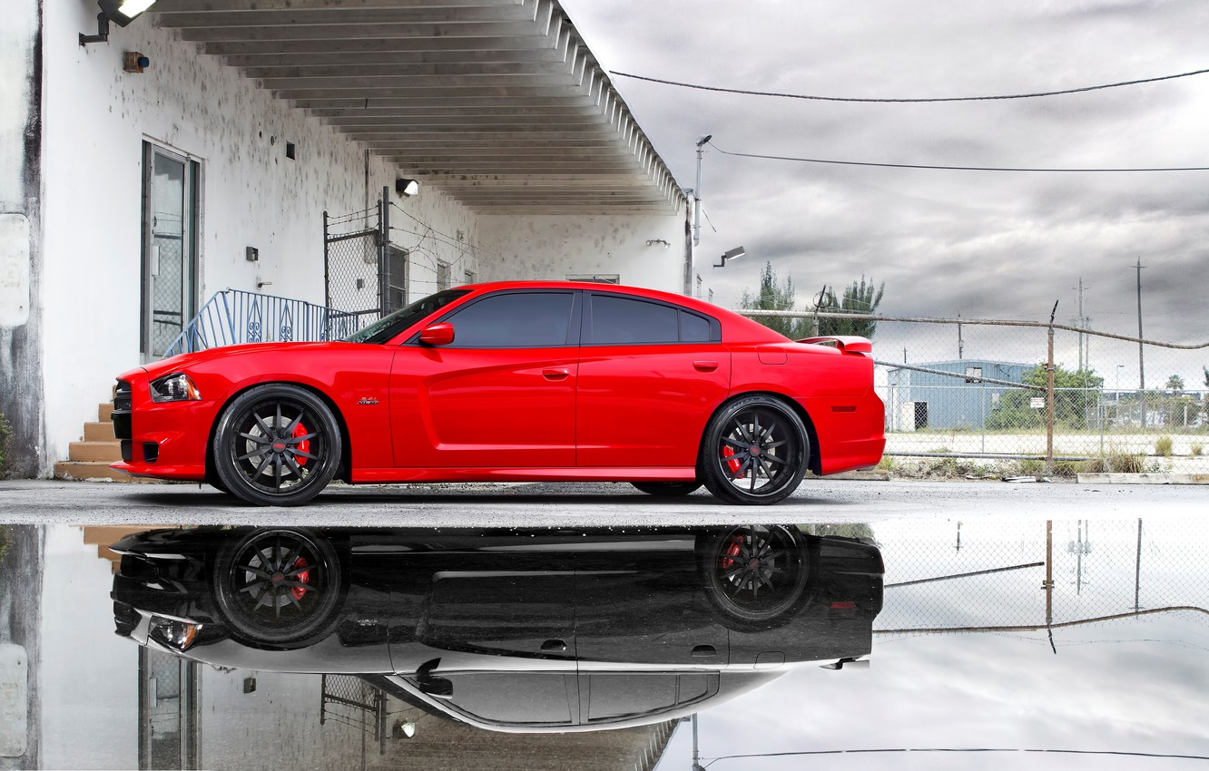 Photo wallpaper the sky, clouds, reflection, puddle, red, Dodge, dodge, charger, srt8, Miami, reflection, the charger, срт8, …