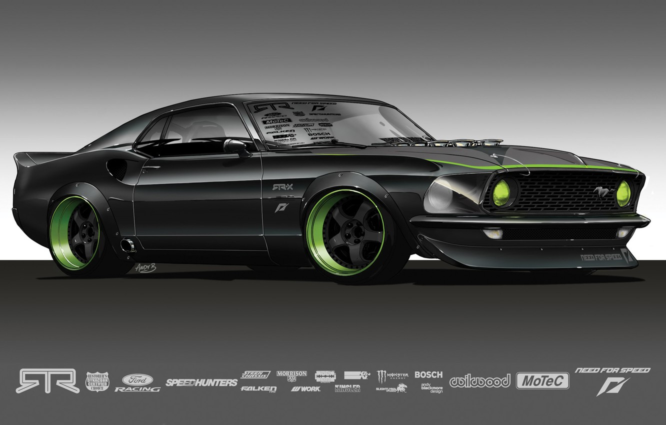 Photo wallpaper grey, Mustang, the concept