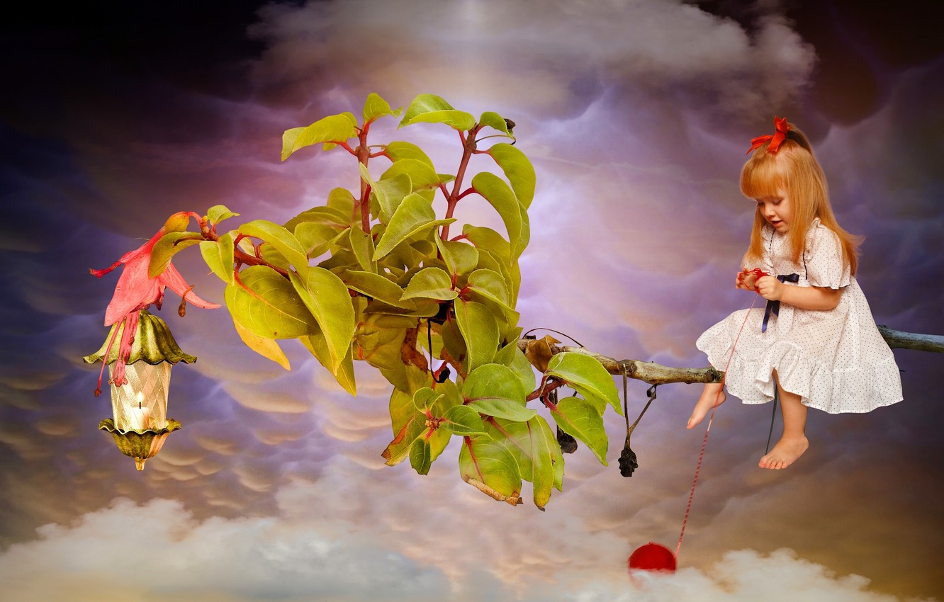 Photo wallpaper leaves, clouds, tangle, branch, girl, red, thread, redhead