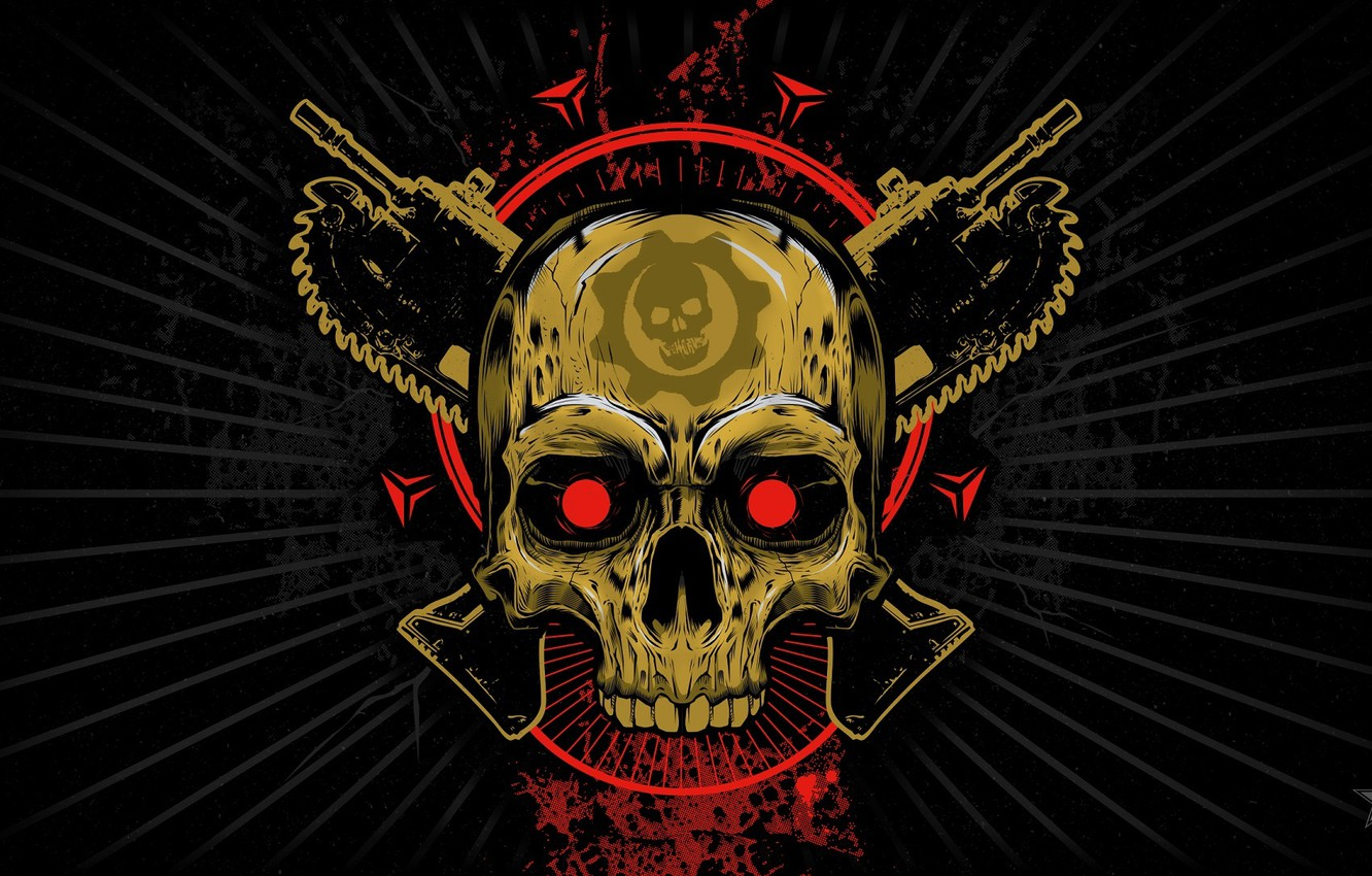 Wallpaper Look Skull Emblem Gears Of War Saw Weapons Xbox