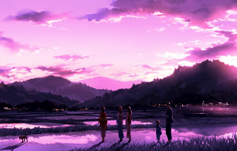 Photo wallpaper sunset, people, dog, kimono, Japanese clothing