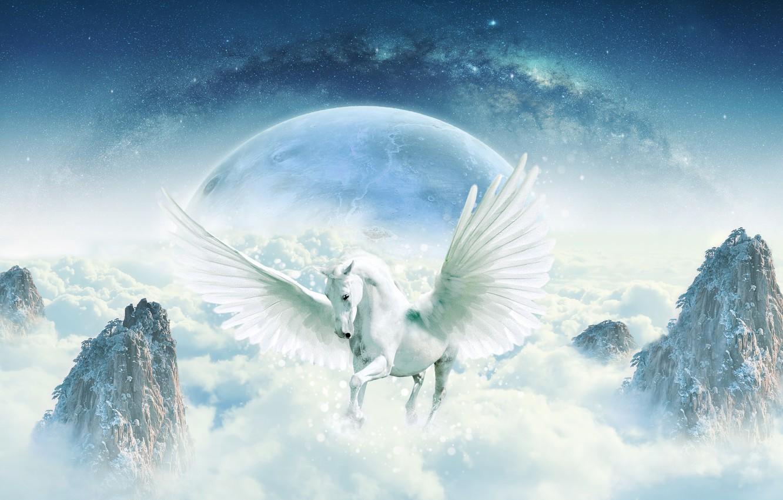 Wallpaper Space Fiction Rocks Horse Magic Horse Planet Wings Horizon Fantasy Art The Milky Way The Sky Stroke Imagination Pegasus Images For Desktop Section Fantastika Download