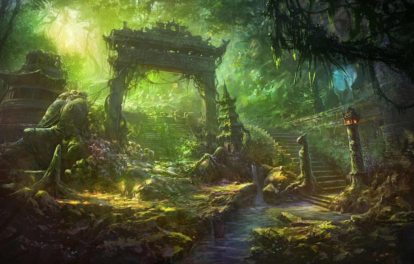 Photo wallpaper river, waterfall, art, ladder, steps, ruins, the gates, the sun's rays