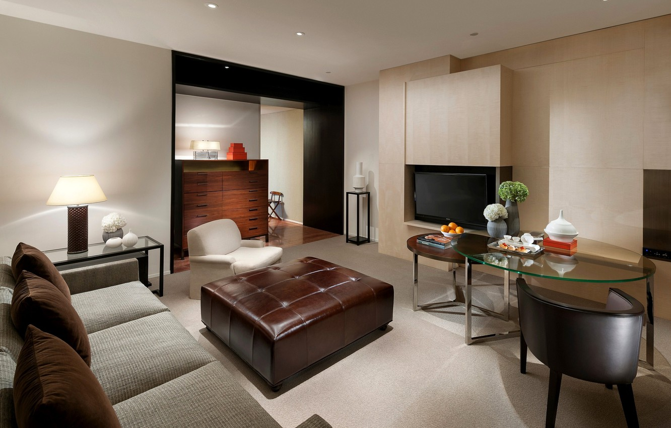 Photo wallpaper design, style, grey, room, sofa, interior, TV, chairs, glass, brown, living room, tables