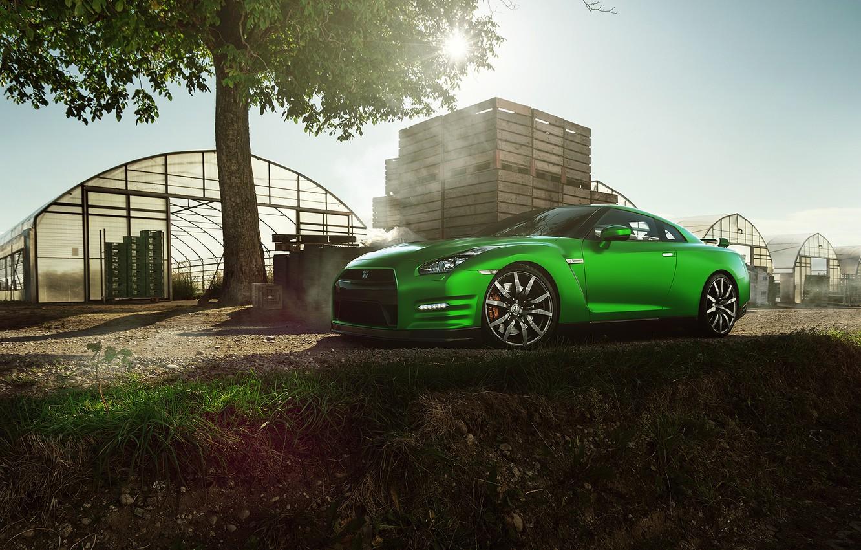 Photo wallpaper Nissan, GT-R, Car, Nature, Green, Front, Beauty, Sport