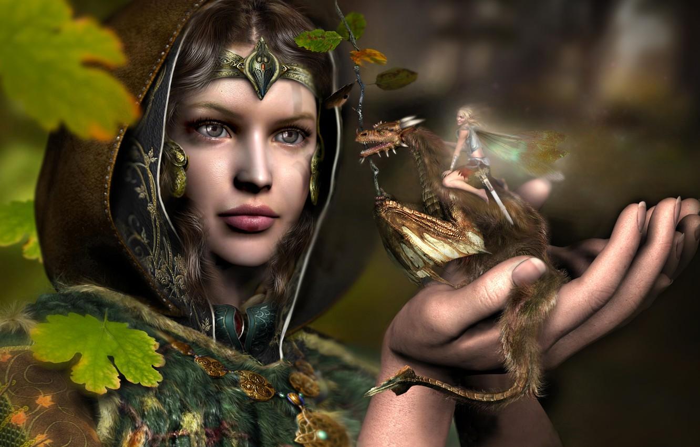 Photo wallpaper girl, dragon, elf, fantasy