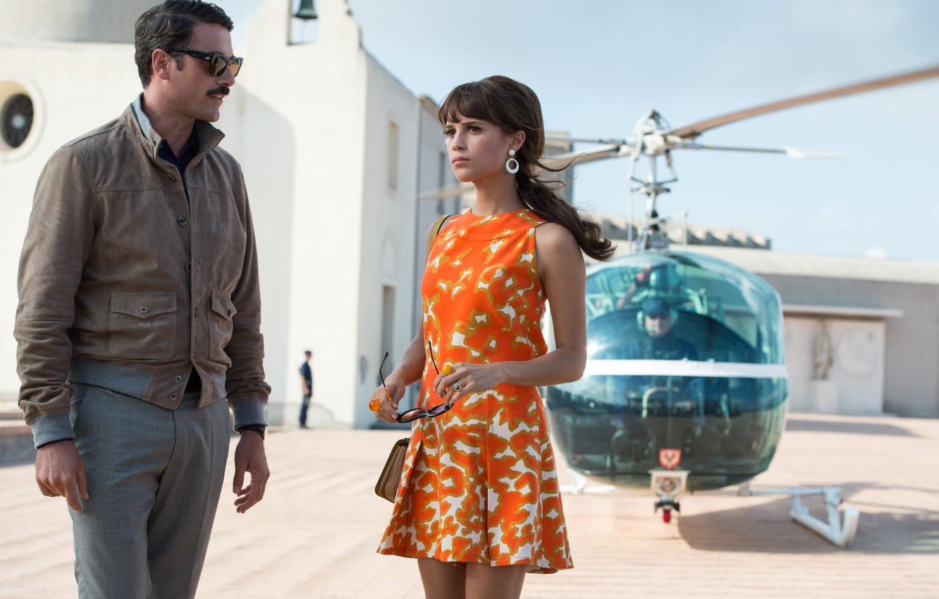 Photo wallpaper dress, brunette, glasses, helicopter, Alicia Vikander, Alicia Vikander, Agents A. N. To.L, The Man from …