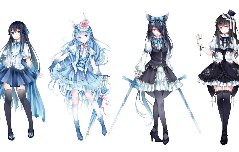 Photo wallpaper flower, weapons, girls, cross, sword, hat, umbrella, anime, art, ears, loli