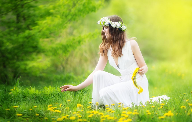 Wallpaper girl, flowers, profile, brown ...