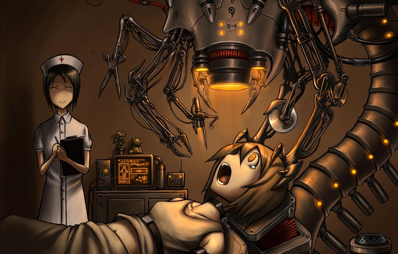 Photo wallpaper robot, nurse, connected, operation