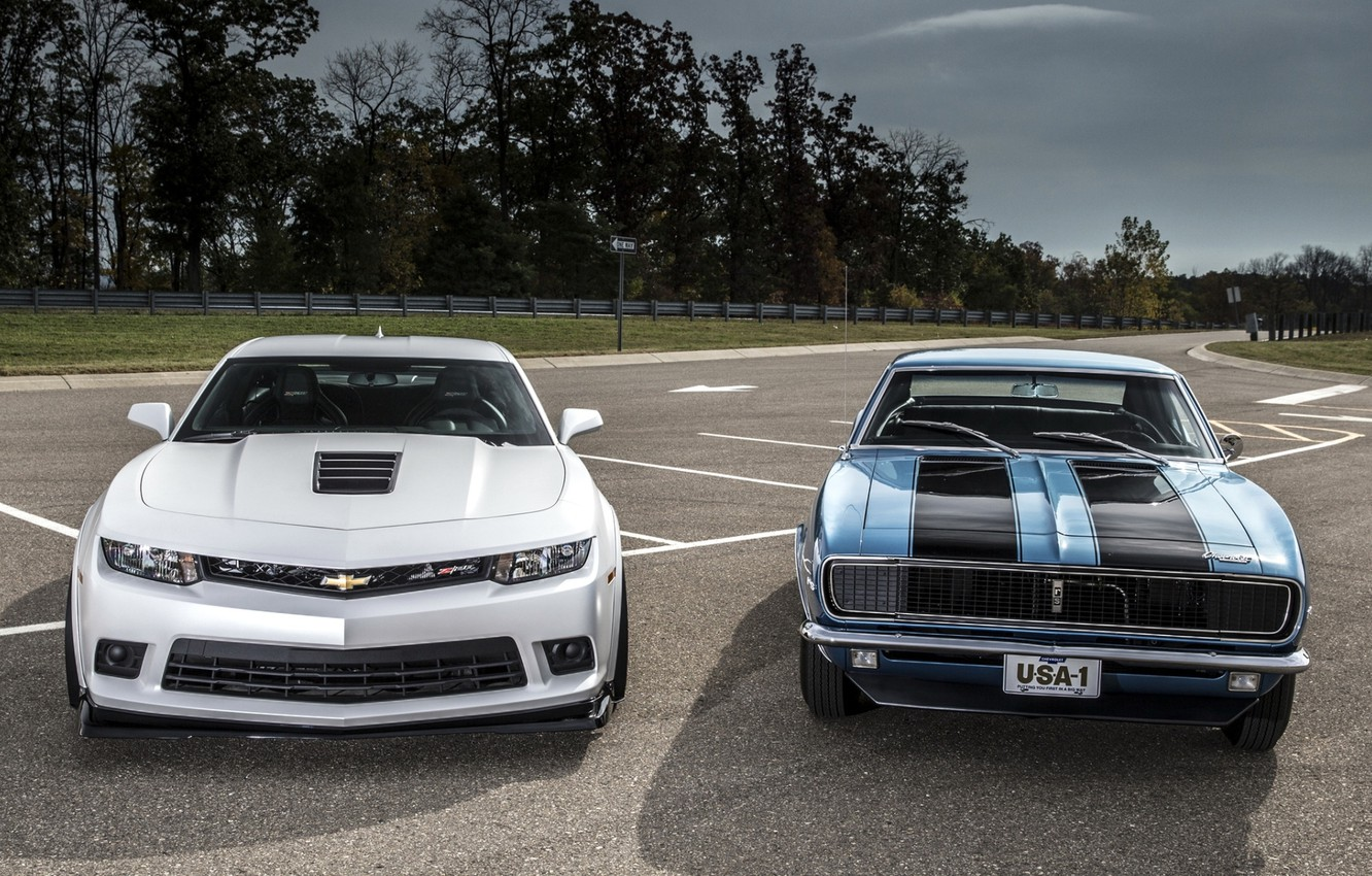 Photo wallpaper background, Chevrolet, Camaro, Chevrolet, Camaro, the front, Muscle car, old and new, Muscle car
