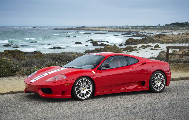 Photo wallpaper Ferrari, Red, 360, sea