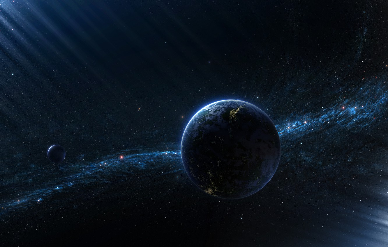Photo wallpaper the moon, planet, satellite, star cluster