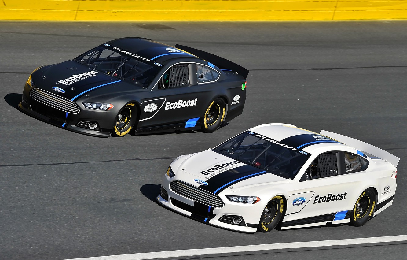 Photo wallpaper two, track, Ford, Fusion, landing, clearance, NASCAR