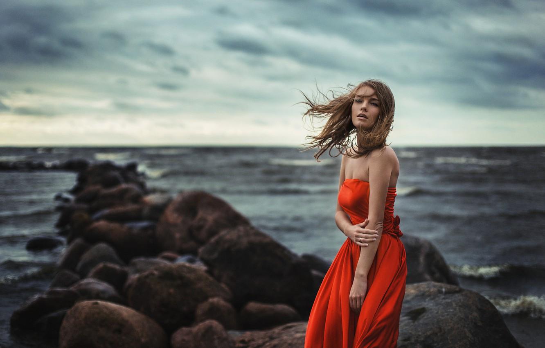 Photo wallpaper Girl, Light, Red, Nature, Clouds, Sky, Beautiful, Model, Blue, Beach, Water, White, Female, Beauty, Ocean, …