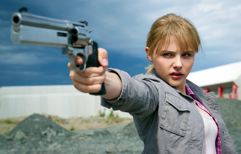 Photo wallpaper Magnum, Chloe Grace Moretz, Movie, Kick Ass 2, Hit Girl