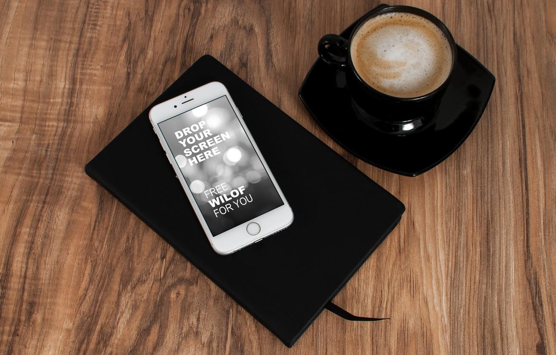 Photo wallpaper apple, coffee, phone, iphone