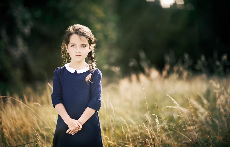 Photo wallpaper dress, girl, pigtail, bokeh