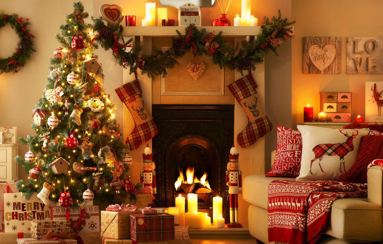 Photo wallpaper love, lights, lights, heart, interior, candles, fireplace, love, heart, interior, candles, Christmas tree, fireplace, Christmas …