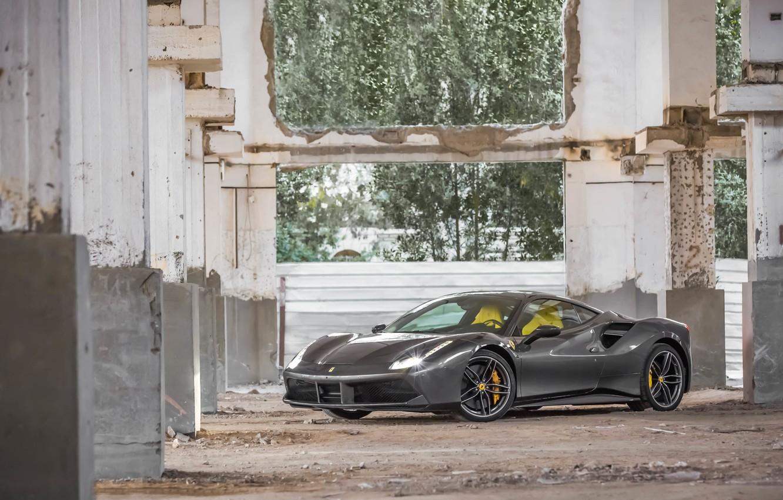 Photo wallpaper Ferrari, GTB, Gray, 488