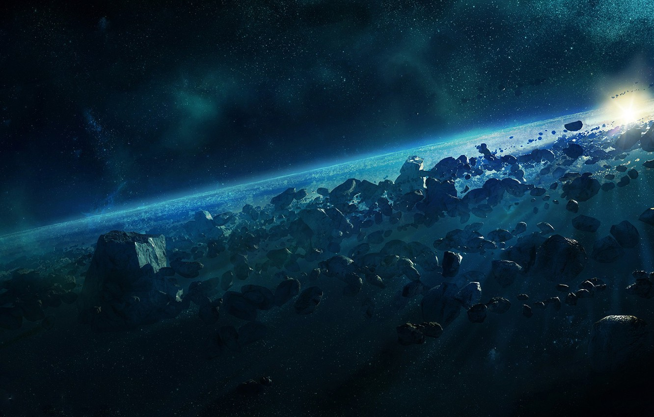 Photo wallpaper space, planet, stars, asteroids, space