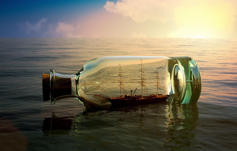 Photo wallpaper sea, the sky, water, river, background, Wallpaper, mood, boat, ship, bottle, wallpaper, sea, the ship, …