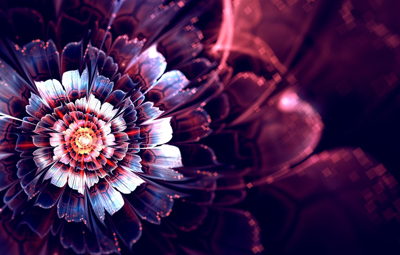 Photo wallpaper flower, rays, abstraction, graphics, glow, fractal