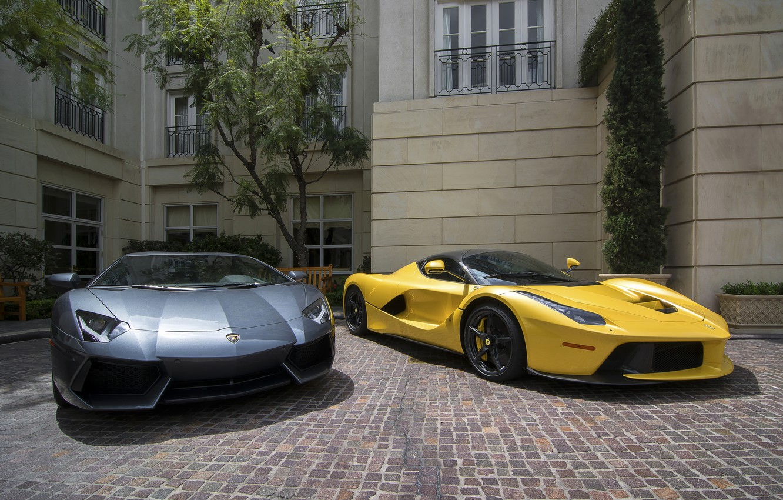 Photo wallpaper Lamborghini, Ferrari, Lamborghini Aventador, Ferrari LaFerrari