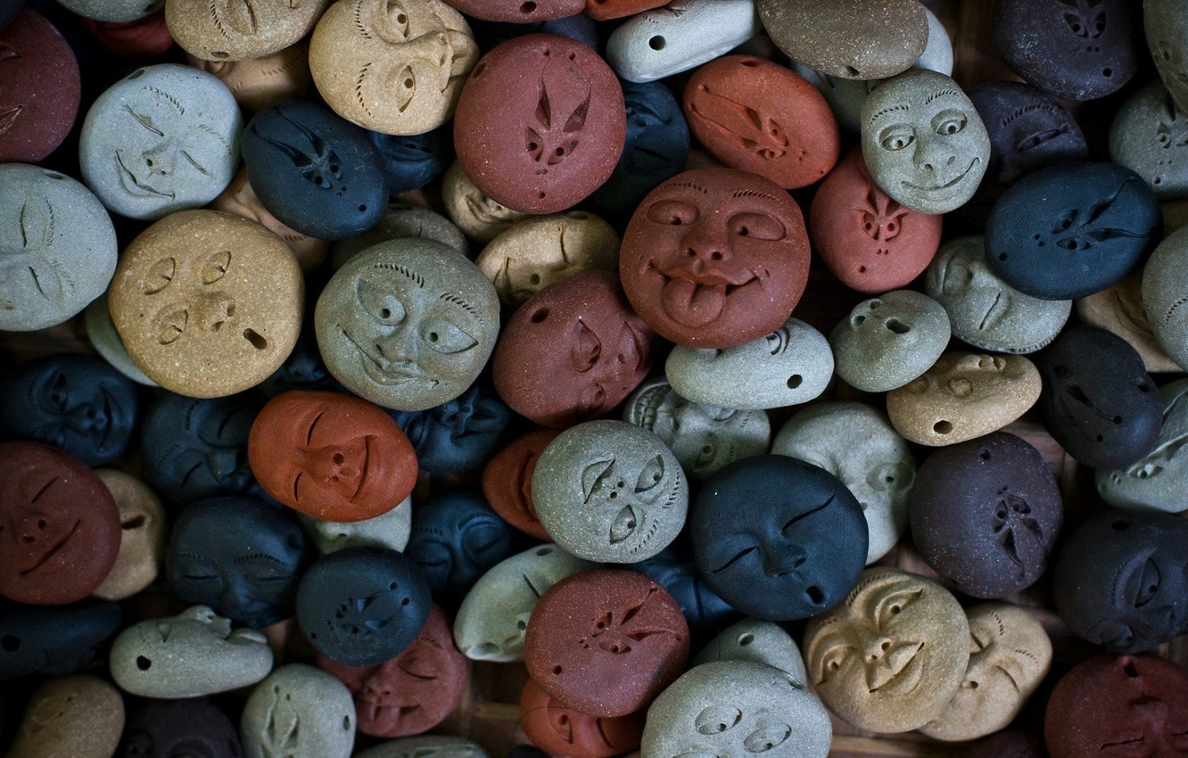 Photo wallpaper blue, stones, grey, red, face, brown, faces, figures
