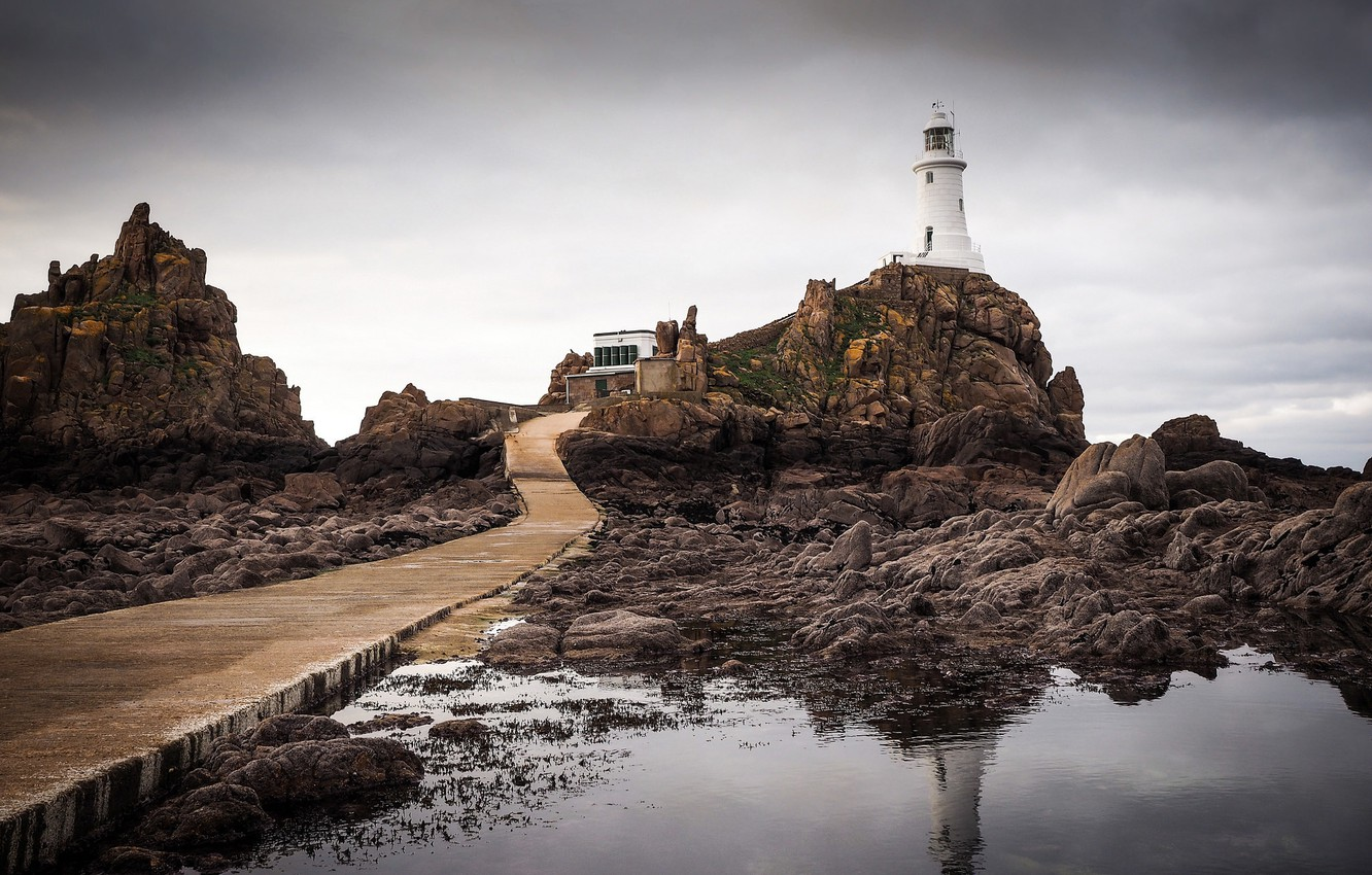 Photo wallpaper the storm, reflection, lighthouse, puddle, rock, gray clouds