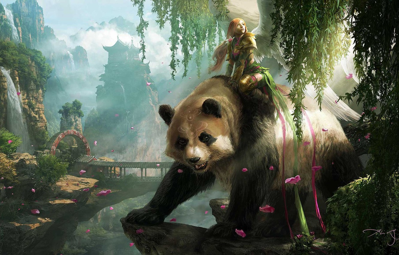 Photo wallpaper look, girl, landscape, animal, wings, art, Panda