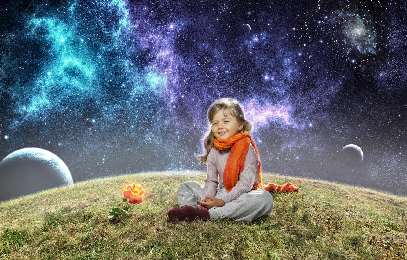 Photo wallpaper space, rose, planet, girl, scarf, child