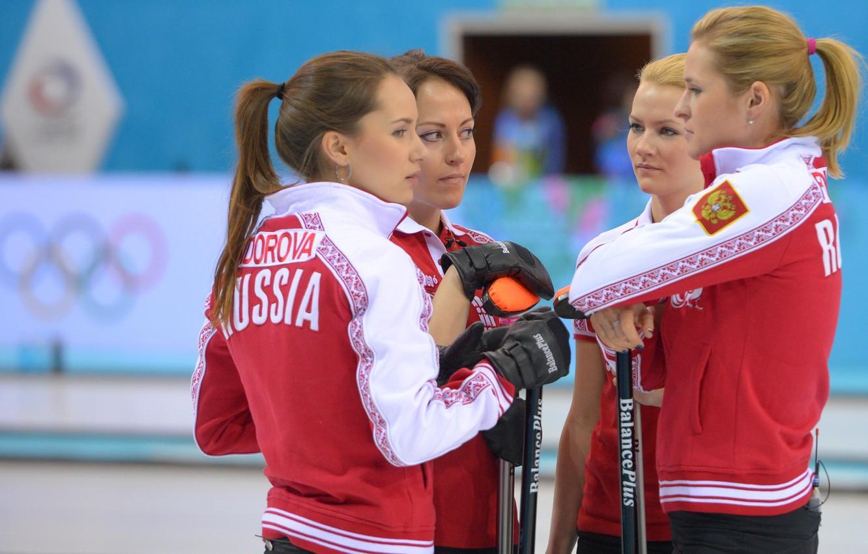 Photo wallpaper Russia, Curling, Sochi 2014, The XXII Winter Olympic Games, women's team, Ekaterina Galkina, Alexandra Saitova, …
