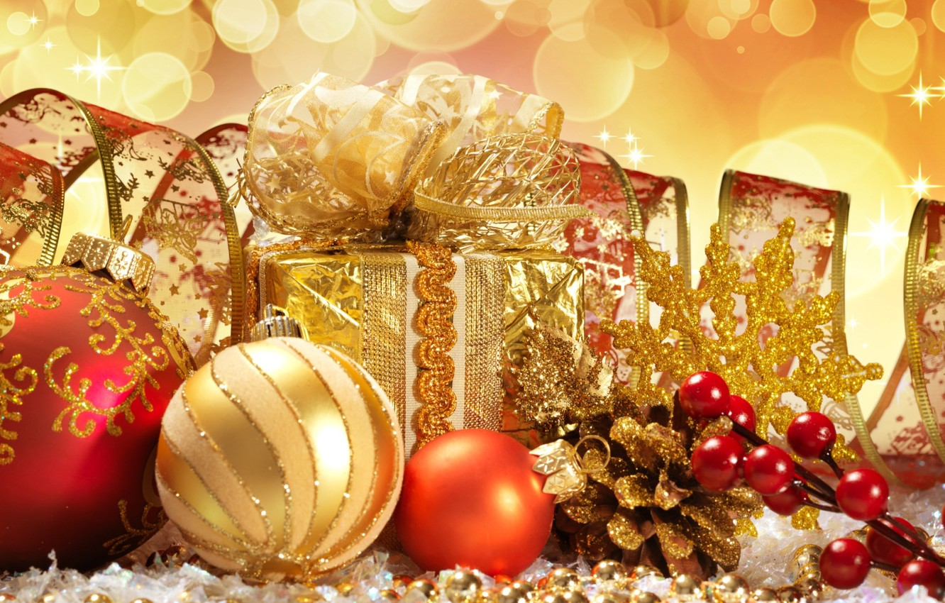 Photo wallpaper yellow, balls, toys, new year, gifts, gold