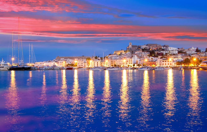 Photo wallpaper sea, sunset, lights, shore, home, yachts, lights, Spain, piers, Ibiza, Eivissa