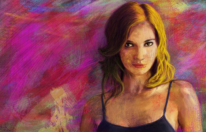 Photo wallpaper girl, face, bright, figure, portrait, art, texture, impressionism, art, digital art, phothoshop