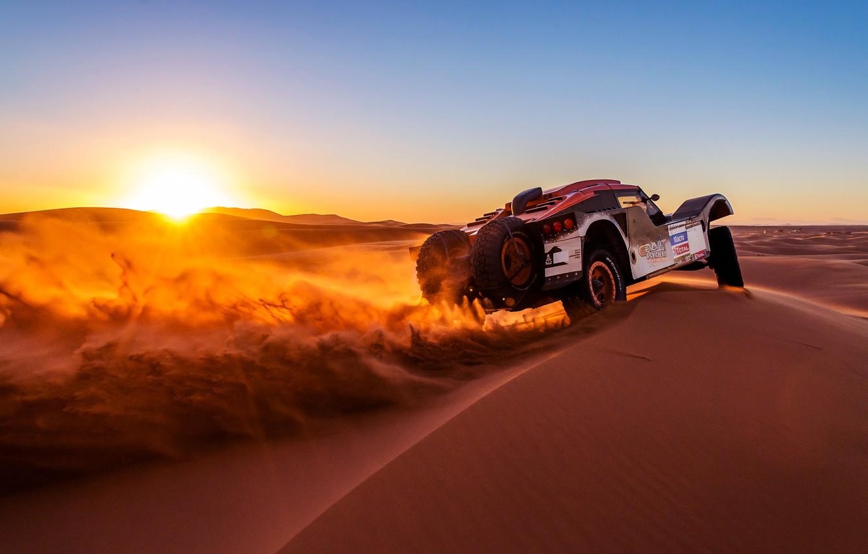 Photo wallpaper the sun, Sunset, Sand, Auto, Sport, Machine, Rally, Dakar, Dakar, Rally, 2014, Buggy