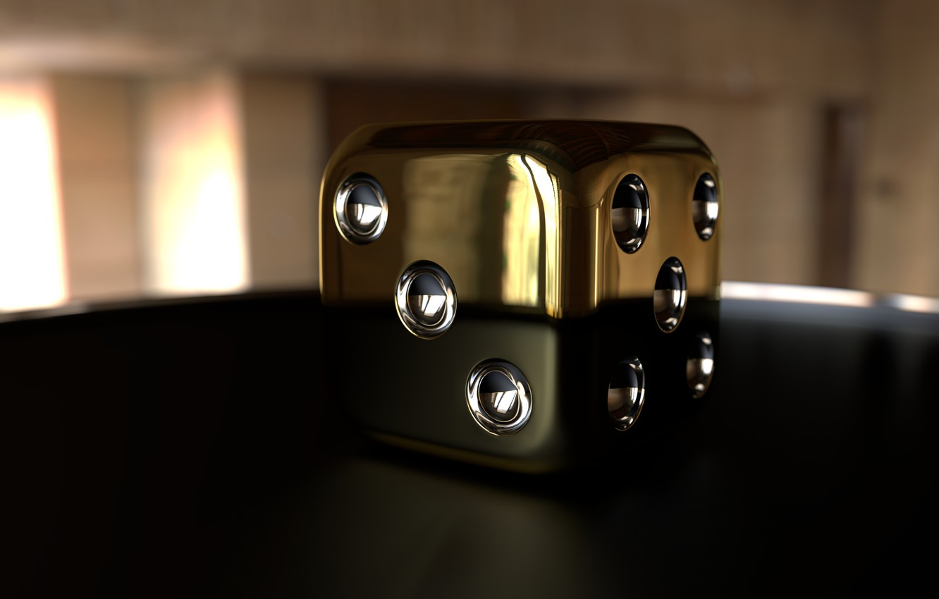 Photo wallpaper abstract, render, 3D image, HeadWitcher, The Cube Gold