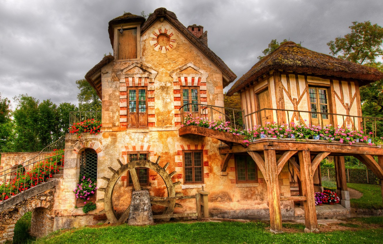 Photo wallpaper the sky, clouds, flowers, house, wheel, hdr, mill, stage