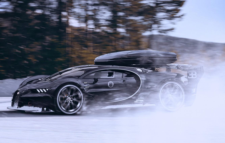 Photo wallpaper Bugatti, Vision, Winter, Speed, Black, Snow, Gran Turismo