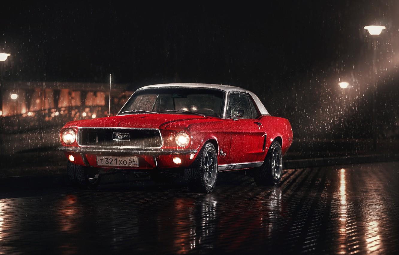Photo wallpaper white, red, rain, Mustang, Ford, Parking, 1967, lampposts, washers