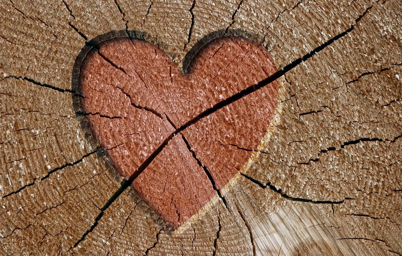 Photo wallpaper cracked, tree, heart