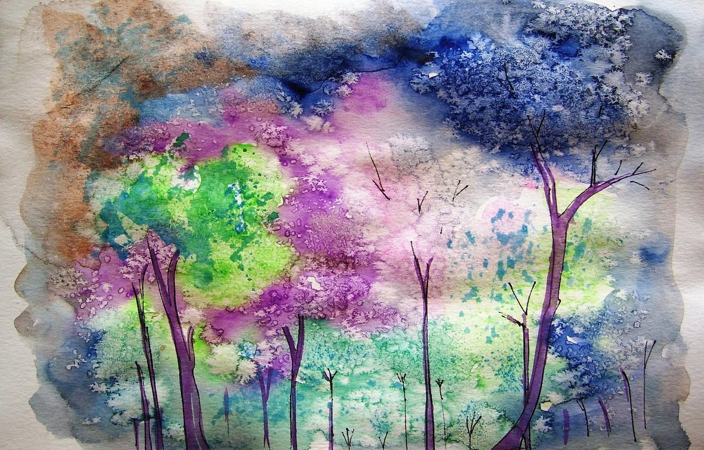 Photo wallpaper nature, picture, watercolor