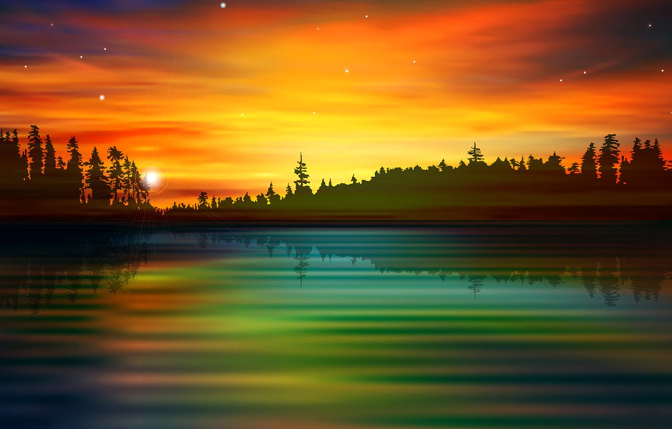 Photo wallpaper forest, the sky, clouds, landscape, sunset, nature, lake, river, silhouette