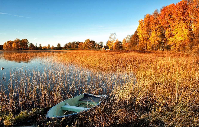 Photo wallpaper autumn, trees, lake, boat, houses.